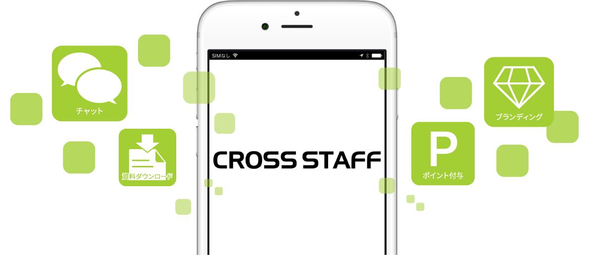 チャット、資料ダウンロード、ポイント付与、貴社独自の専用アプリ